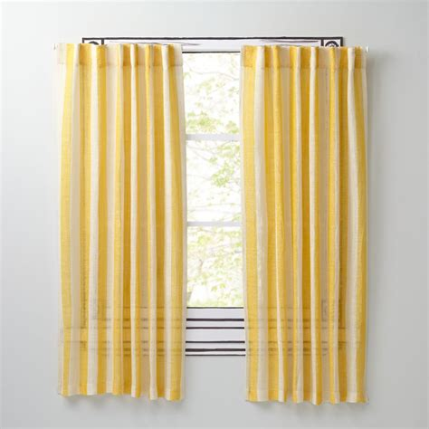 Yellow Linen Curtains Line Up Striped Linen Curtains Yellow The Land Of Nod