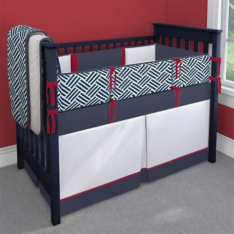 Red white and navy blue nursery idea customizable crib bedding set