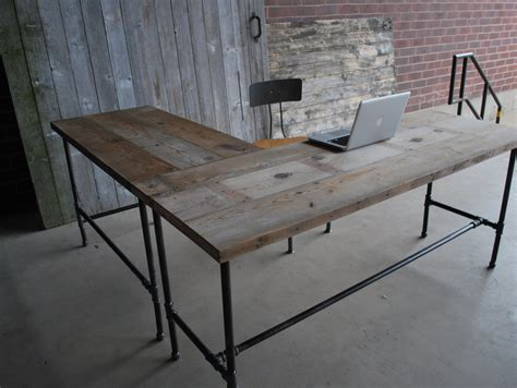 L Shape Modern Rustic Desk Made Of Reclaimed Wood Choose Your Diy Metal Desk