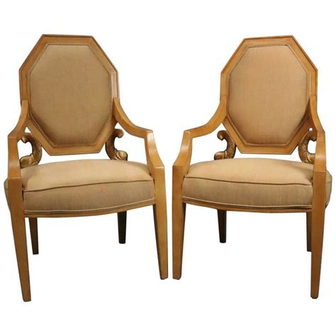 upholstered armchairs for sale pair of vintage neoclassical giltwood figural upholstered