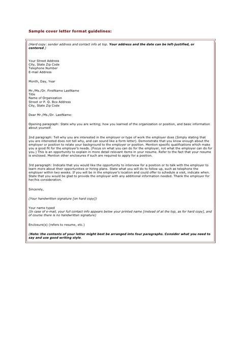 Guidelines For Cover Letter sle cover letter format guidelines