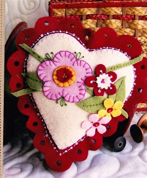 felt applique pin cushion sachet wool felt applique sewing