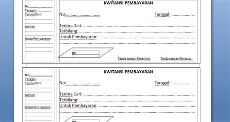 Contoh Kwitansi Pembayaran Excel by Kwitansi Kosong Ms Word Dan Excel Wafariq