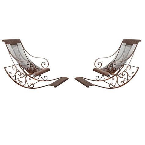 wrought iron rocking bench outdoor hand forged wrought iron rocking chairs at 1stdibs