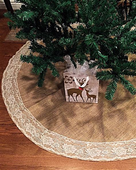 burlap and lace christmas tree skirt 60 inches diameter