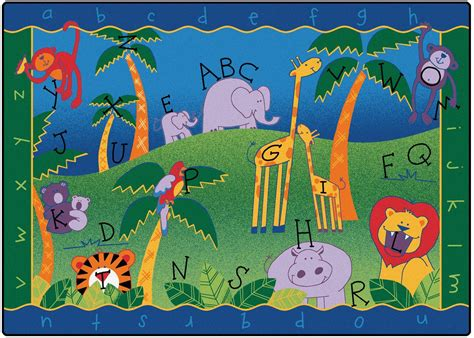 5 X 8 Bamboo Rug Alphabet Jungle Classroom Rug Carpets For Kids Abc Rugs