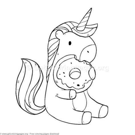 cute unicorn eating donuts coloring pages