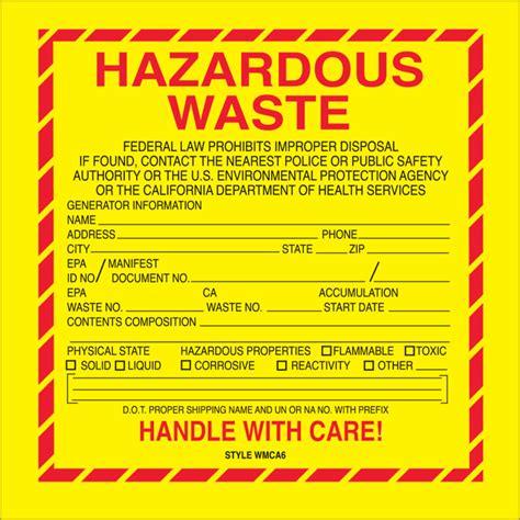 printable hazardous material label 6 quot x 6 quot quot hazardous waste california quot labels