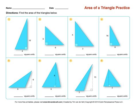 Area Of A Triangle Worksheet by Area Of A Triangle Worksheets Third Grade Math Worksheets