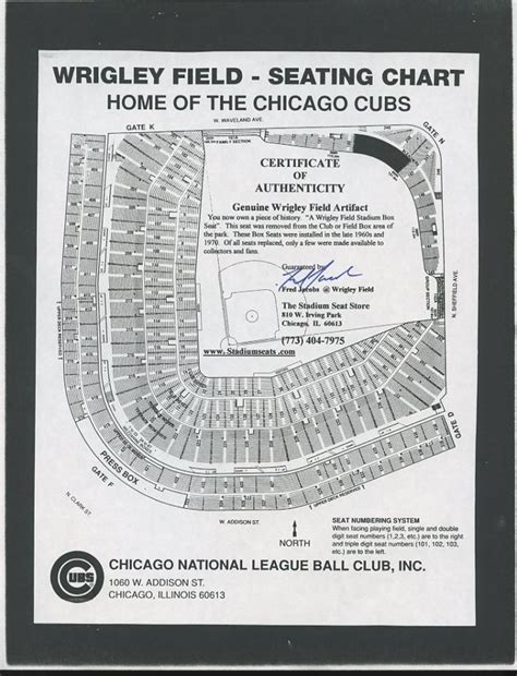 cubs seat chart fred signed cubs wrigley field seating chart pa loa