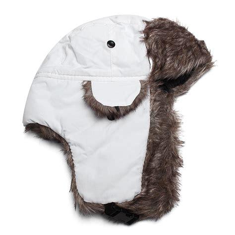 s canadian beaver faux fur hat pu lerther warm