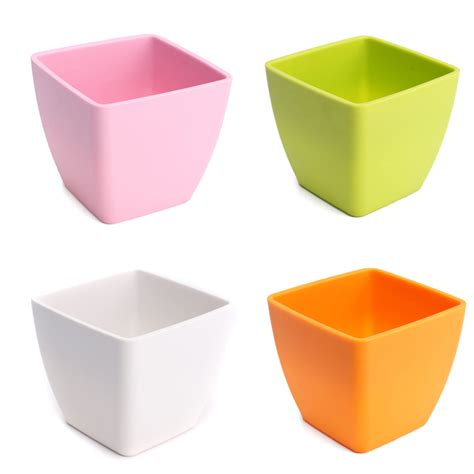 Square Flower Pots Colorful Square Plastic Flower Pots Floral Fleshy