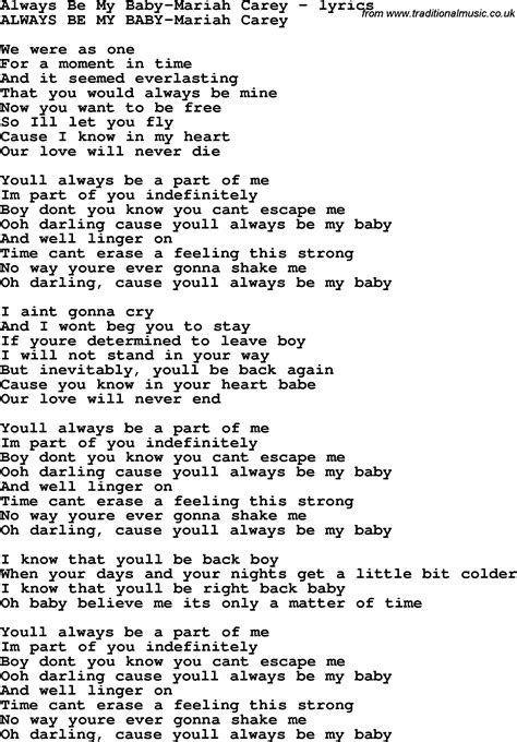 my lyrics song lyrics for always be my baby carey