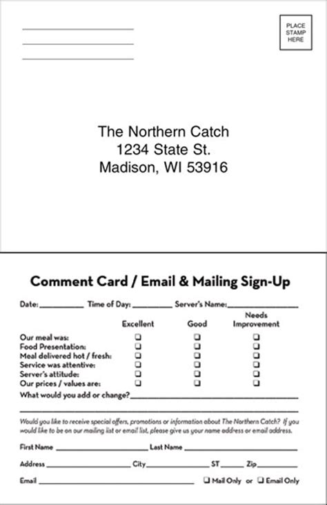 comment card template custome direct mail restaurant success marketing rsm