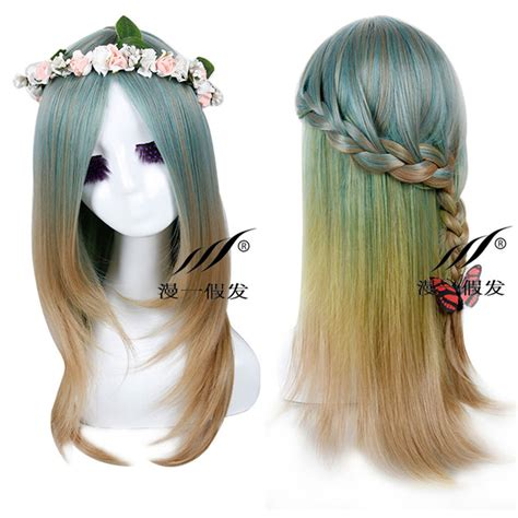 Wig Anime Anime green mix color anime hair wigs