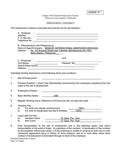standard contract of employment template employment contract in word and pdf formats