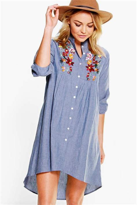 Embroidery Denim Shirt embroidered denim shirt dress boohoo