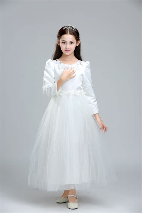 dressing for 34 yr old children wedding dress for teenage long sleeve girls