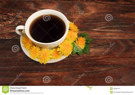 coffee mug  flowers  wooden background stock image image