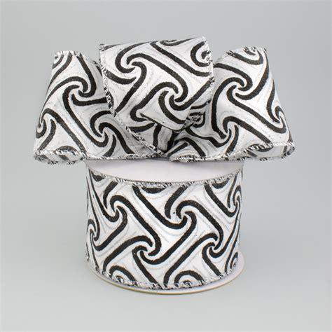 black pattern ribbon 2 5 quot white satin scroll greek key black pattern ribbon 10
