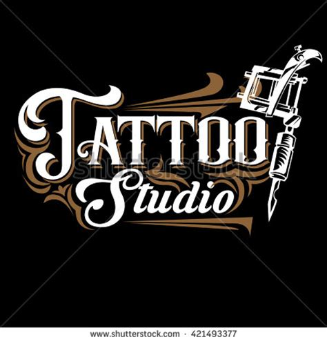 tattoo logo template vector tattoo studio logo templates on black background