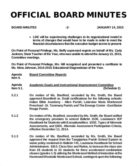 board minutes template 10 free word pdf documents
