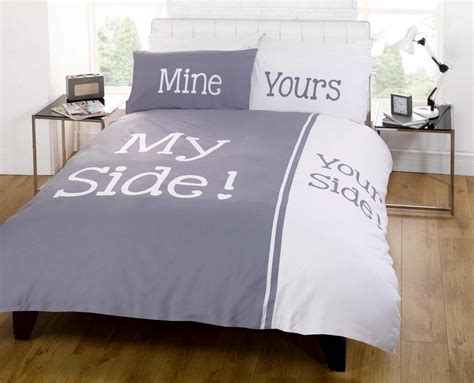 king duvet on bed my side your side king size duvet cover bed set