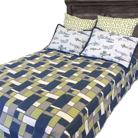 Sam Geometric Boxed Fitted Bunk Bed Comforter Bedding