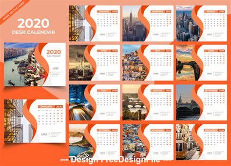 desk calendar  orange template vector