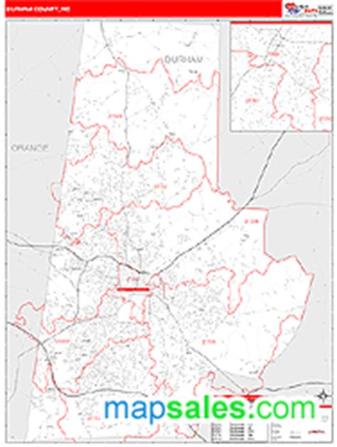 zip code map durham nc durham county nc zip code wall map red line style by