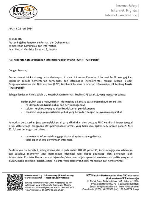 Contoh Surat Undangan Buat Hadiri Sidang by Surat Keberatan Atas Tanggapan Permohonan Informasi Trust