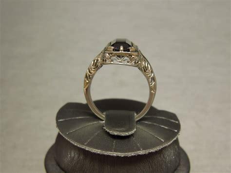 antique green tourmaline ring 6ct 18k wg filigree c1910