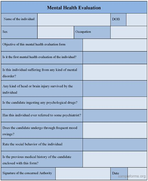 Psychiatric Evaluation Template mental health evaluation form sle mental health