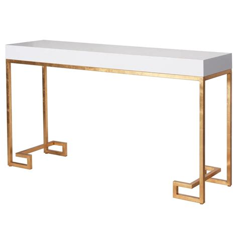 white and gold table davinci hollywood regency white lacquer gold console table