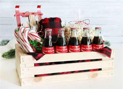 coca cola christmas gift basket idea free printable tags