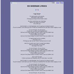 lyrics ed sheeran pearltrees