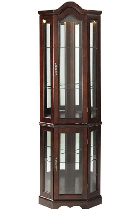 Lighted Corner Curio Cabinet by Lighted Corner Curio Cabinet Mahogany Ebay