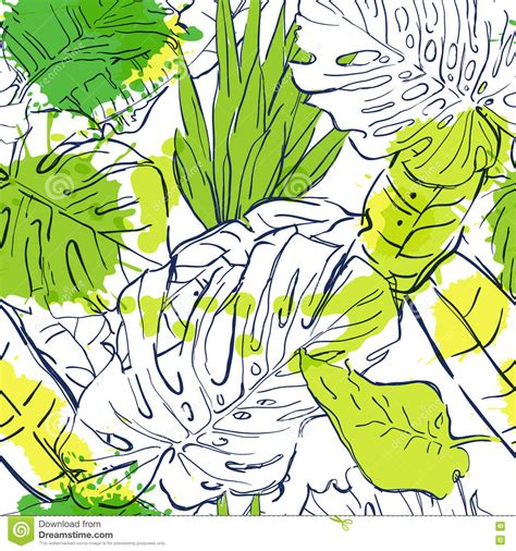fashion illustration nature vector seamless pattern with outline tropical palm leaves