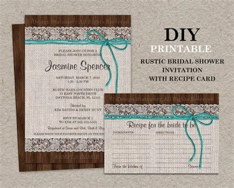 diy free printable bridal shower invitations rustic turquoise bridal shower invitation with recipe card