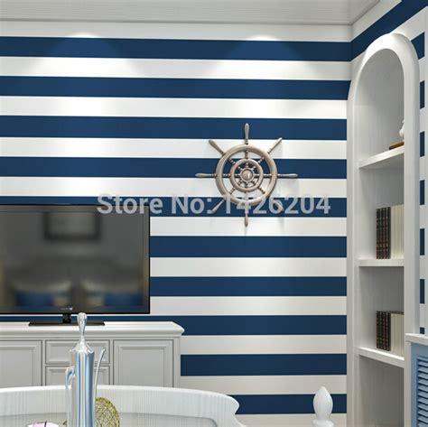 blue striped walls horizontal striped wallpaper living room nakicphotography