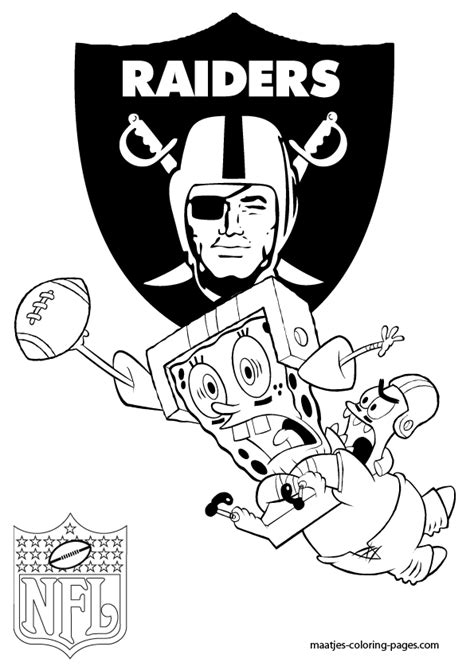 spongebob nfl coloring pages oakland raiders patrick and spongebob coloring pages