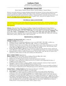 Resume Skills Business The Best Business Analyst Resume Sle Recentresumes