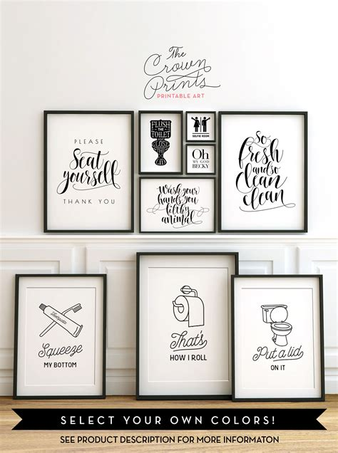 bathroom wall art sayings printable bathroom wall art from the crown prints on etsy