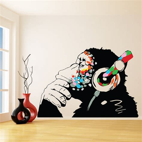 graffiti wall stickers banksy vinyl wall decal monkey with headphones colorful