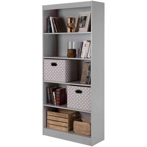 5 shelf bookcase black white gray brown storage bookshelf