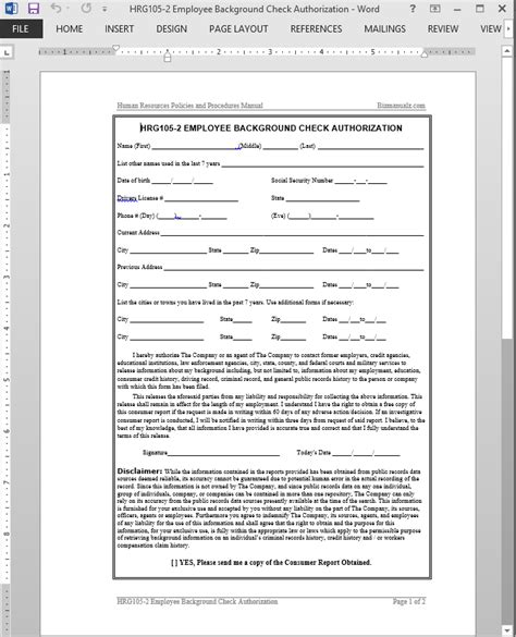 Consumer Background Check Employee Background Check Authorization Template