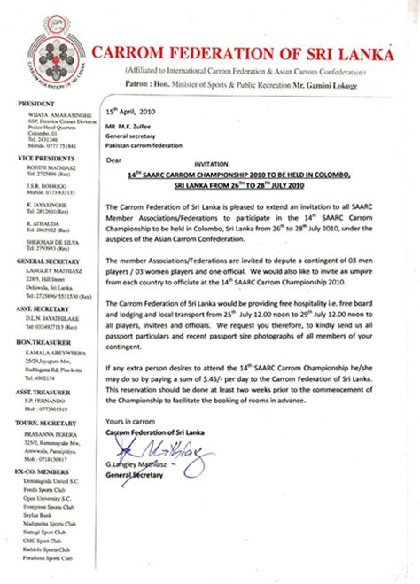 Invitation Letter For Conference Participation Pakistan Carrom Federation 14th Saarc Carrom Chionship 2010