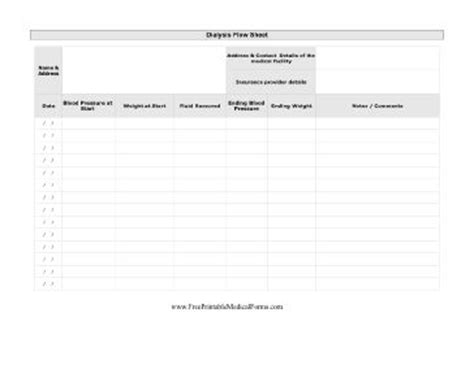 Dialysis Flow Sheet Printable Medical Form Free To Download And Print Kidney Pinterest Dialysis Patient Schedule Template