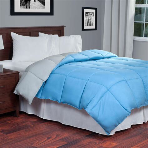 alternative down comforter king lavish home reversible blue grey down alternative king