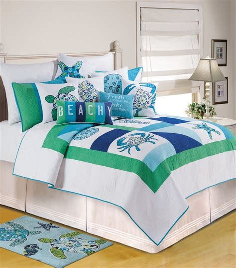c and f bedding meridian waters beach house twin quilt 66 quot x 86 quot c f